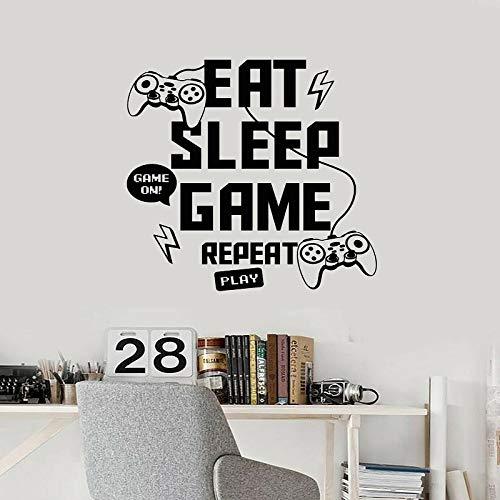 Juego Eat Sleep Replay Joystick vinilo pegatina de pared Internet Cafe 3D vinilo creativo pegatina de pared Mural calcomanía decoración artística