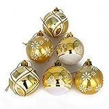 COOLWEST Lote de 6 Bolas de Navidad combinadas para colgantes navidad adornos árbol de fiesta decoración de Navidad (Dorado)