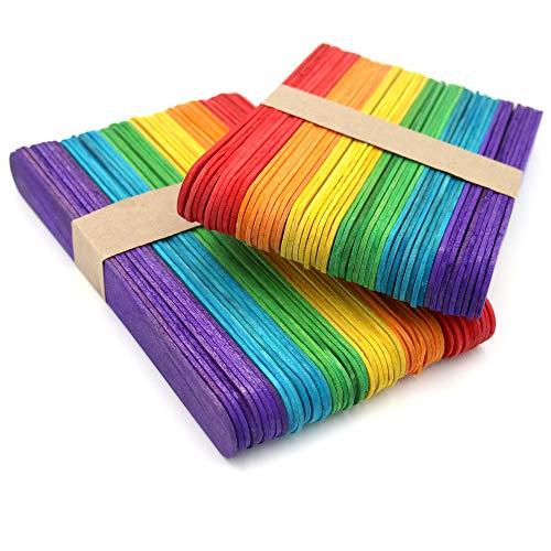 KINGLAKE 100 Stücke Holz Handwerk Stöcke Jumbo farbige 15x2 cm, holzstäbchen für hausgemachte Kunsthandwerk Designs