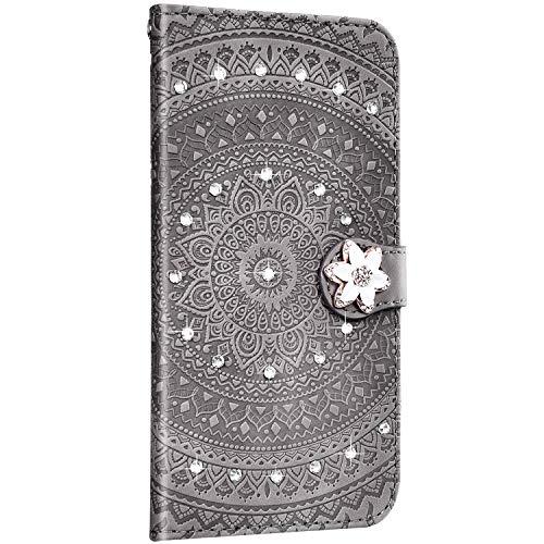 Saceebe Compatible avec Sony Xperia L3 Étui Cuir Coque Pochette Portefeuille Housse Paillette Brillant Diamant Fleur Mandala Motif Coque Protection avec Clapet à Rabat Porte-Cartes,Gris