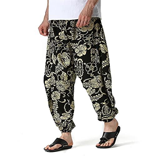Pantalones Casuales Sueltos de Lino para Hombre Pantalones de Verano con Cintura elástica