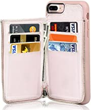 LAMEEKU iPhone 7 Plus Zipper Wallet Case, iPhone 8 Plus Leather Case, Apple 7 Plus Credit Card Holder Slot case with Money Pocket, Protective Cover Compatible for Apple iPhone 7 Plus/8 Plus-Rose Gold