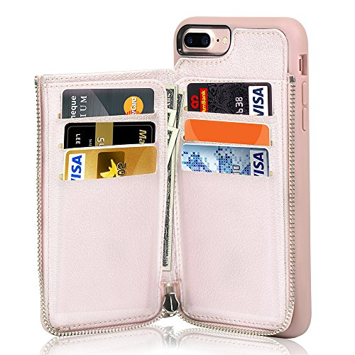 iPhone 7 Plus Zipper Wallet Case, iPhone 8 Plus Leather Case, LAMEEKU Apple 7 Plus Credit Card Holder Slot case with Money Pocket, Protective Cover Compatible for Apple iPhone 7 Plus/8 Plus-Rose Gold