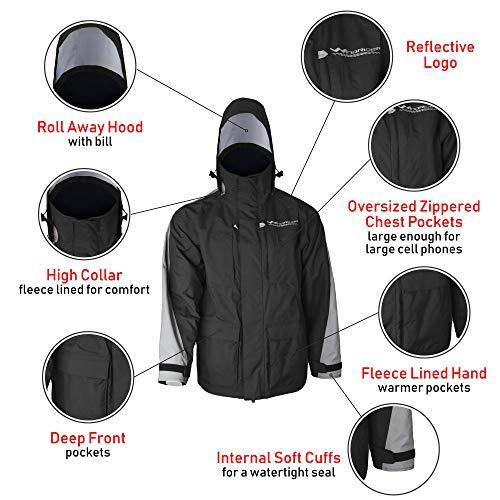 WindRider Pro Rain Jacket | Foul Weather Jacket | Fishing, Sailing, Boating Black/Silver