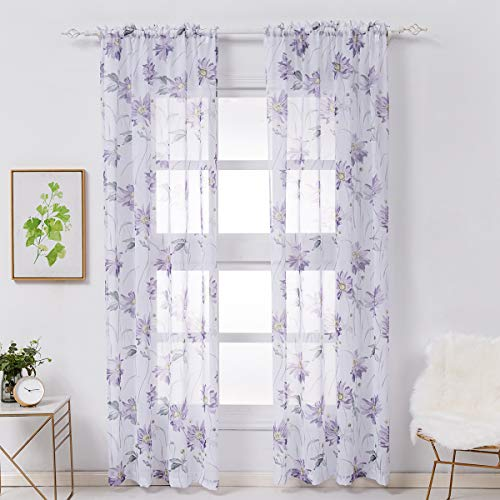 Kotile Floral Sheer Curtains for Bedroom - 96 Inch Long Rod Pocket Window Print Sheer Curtains 2 Panels, Lavender/Purple, 52 x 96 Inches