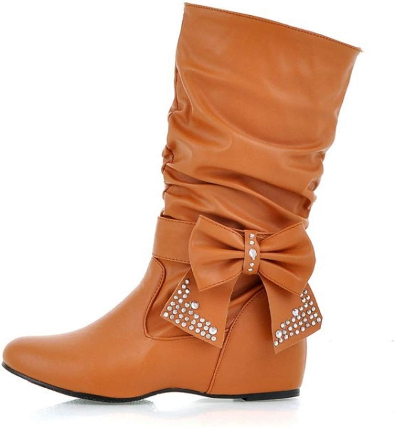 Ladies Wedge Calf Boots Biker Boots Women Bow Mid Boot Heels Boot Large Size shoes Autumn Winter Ruched Boots
