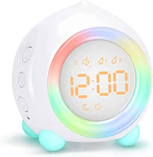Kids Alarm Clock, Digital Alarm Clock with Rechargeable Lithium Battery, 7 Color Changing Night Light, Snooze, Touch Contr...