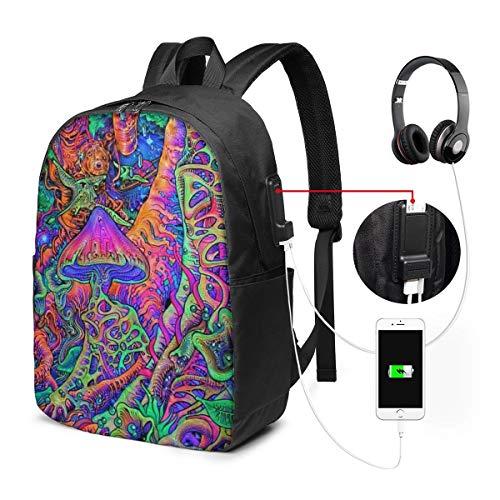 Trippy Mushrooms zwembroek rugzak met USB-aansluiting, casual rugzak, voor computers van hoge kwaliteit, multifunctioneel, uniseks