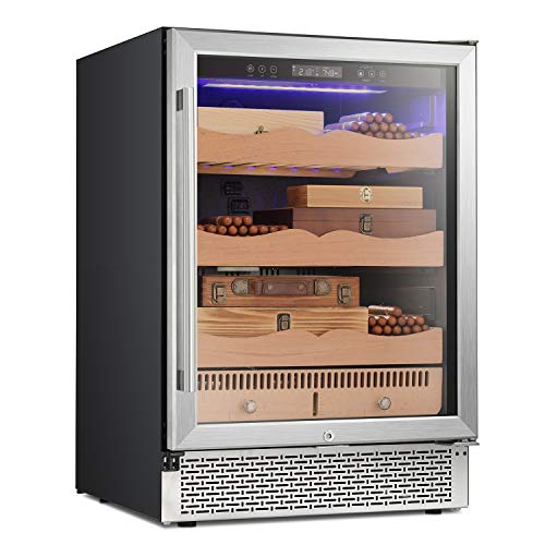 """RMYHOME 24""""Touch Control Stainless Cigar Cabinet, Free Standing Electronic Cigar Cooler Humidor, 3-Layer Removable Wooden Shelves, LCD Temperature Display, and Child Lock"""