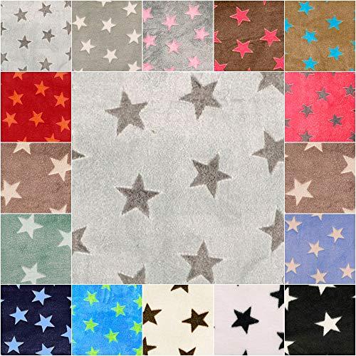 DIE NÄHZWERGE Superflausch Sterne, in 15 Farbkombinationen - Meterware ab 50cm | Wellness-Fleece Softplüsch Microfleece – Stars, Weihnachten, Ganzjahres-Stoff (Fond: hellgrau, Sterne: grau)