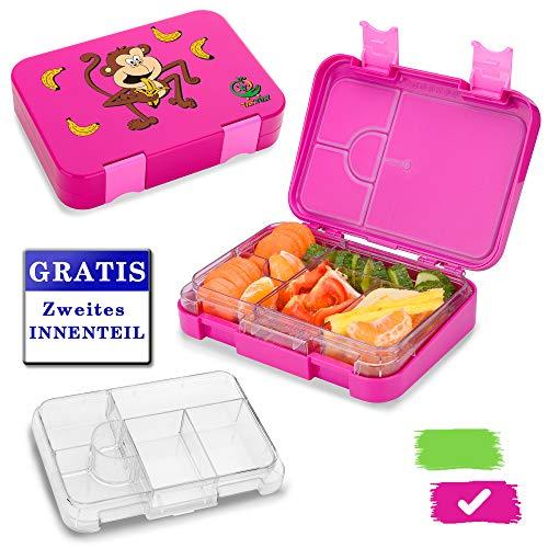 TAKWAY Brotdose Kinder mit Fächern (4 oder 6) | Bento Box auslaufsicher und robust | Kindergarten Brotdose mit Unterteilung (pink)