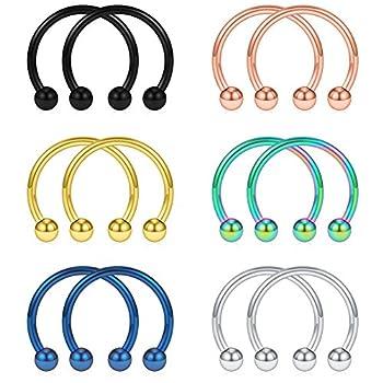 SCERRING 12PCS 10mm Mix Color Stainless Steel Nose Horseshoe Hoop Rings Eyebrow Lip Ear Tragus Septum Piercing Hanger Retainer 16G