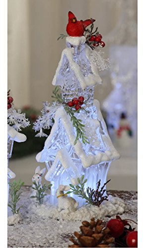 """CC Christmas Decor Set of 2 White and Red Tall Forest House with Cardinals Table Toppers 9.5"""""""