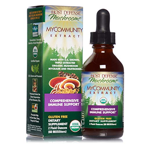Host Defense, MyCommunity Extract, Advanced Immune Support, Mushroom Supplement with Lions Mane, Reishi, Vegan, Organic, 2 oz (60 Servings)