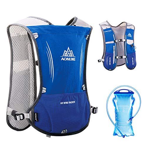 TRIWONDER Hydration Pack Backpack 5L Marathoner Running Race Hydration Vest (Blue - with 1.5L Water Bladder)