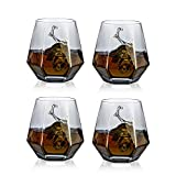 Glasseam Bicchieri da Whisky Diamond Set di 4 Bicchieri da Whisky Inclinati 300ml Bicchiere da Whisky Look Moderno per Uomo, Donna, papà, Marito, Amici, Bicchieri per Bourbon/Rum/Bar Tumbler