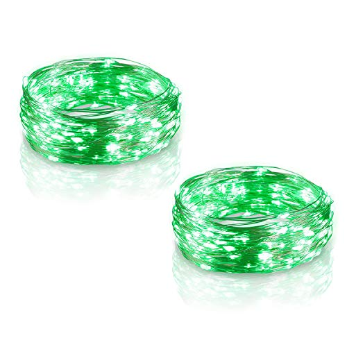 Firecore Green Battery Lights 2 Sets, 16.5Ft/5M Led String Fairy Lights 50 LEDs Indoor/Outdoor Christmas Lights Festival/Bedroom/Party Decorations Battery Powered Copper Wire Light