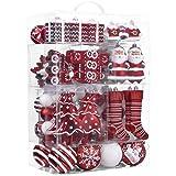 Valery Madelyn 155Pcs Bolas de Navidad, Adornos de Navidad para Arbol, Decoración de Bolas Navideños Inastillable Plástico de Rojo y Blanco, Regalos de Colgantes de Navidad (Tradicional)