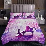 Juego de edredón de piano para niña, teñido anudado púrpura, juego de edredón de acuarela para niños y mujeres, instrumentos musicales, acolchado, 3 piezas, tamaño King