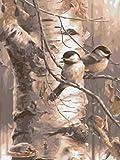 DIY pintura al óleo kit Pájaro de árbol muerto de pintura acrílica pintura al óleo digital niños decoración de la paredsala de estar dormitorio decoraciones(40 * 50 cm/sin marco)