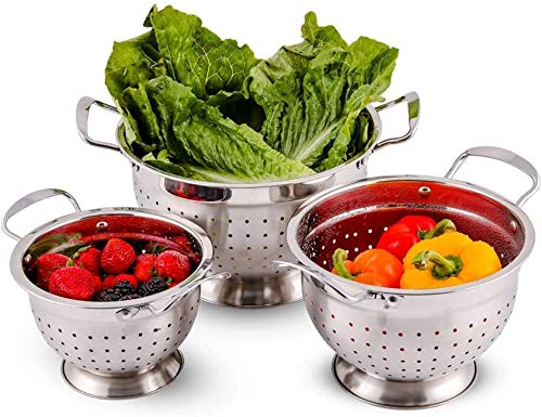 Ovente Stainless Steel Deep Colander 3 Piece Kitchen Strainer Set, Dishwasher Safe 1.5, 3, and 5 Quart Bowl Drainer with Handle & Large Stable Base for Flour Sifter, Pasta, Vegetable, Silver C46263S