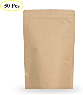 SumDirect 50PCS Reusable Kraft Zip Lock Stand Up Food Storage Bags Pouches with Zipper Foil Lined, Coffee Beans Cereal Candy Biscuits Pouches, 5 x 7 Inches