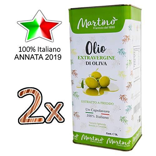 Confezione 10 litri di 100% Italiano Olio Extravergine di Oliva Martino - pack 2x lattina da 5 litri