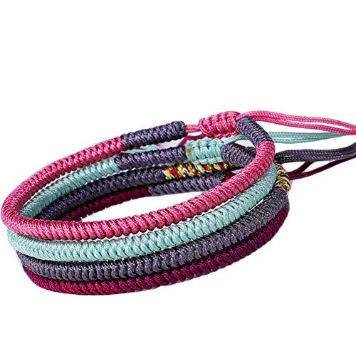 inherited 4 piezas Pulsera de Cuerda de Suerte, Pulsera de la Suerte, Pulsera Ajustable Trenzada Para hombres y mujeres hechos a mano con amor (verde + gris + púrpura + rosa)