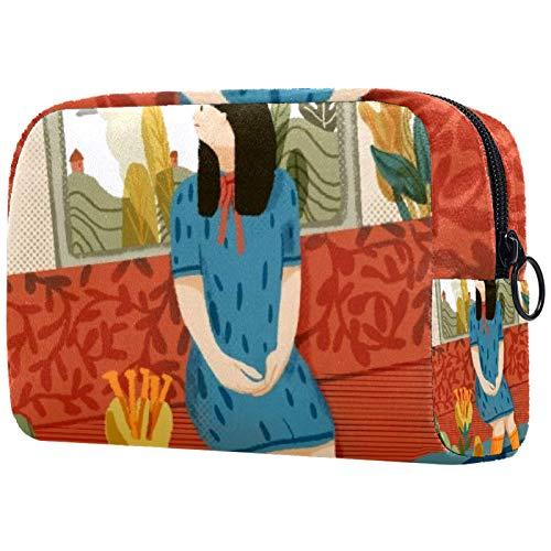 Bolsa de brochas de maquillaje personalizables, bolsas de aseo portátiles para mujeres, bolso de cosméticos, organizador de viajes, sofá y niña