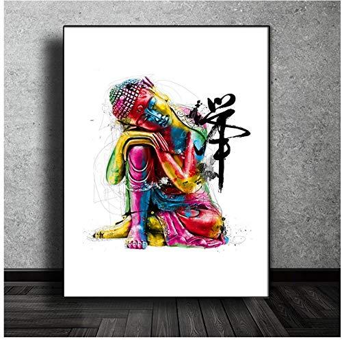 DLFALG Buda religioso de colores Carteles e impresiones de arte moderno Mandala budista Acuarela Zen Pintura en lienzo Sala de estar Decoración para el hogar-50x70cm Sin marco