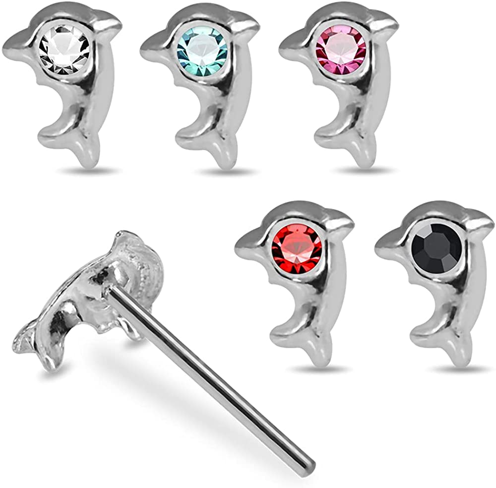 Pack of 5 Pieces Mix Color 2 Silver Dolphin 925 Jeweled Opening large release sale Sterling Time sale