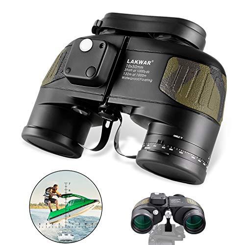 Prismáticos para Larga Distancia LAKWAR 10X50 Binoculares Compactos para Adultos con Brújula Y Telémetro Prismáticos De Profesional con Prisma Bak4 Impermeables para Observación De Aves