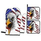 Juego de 4 manoplas para horno y soportes para ollas,bandera de Estados Unidos en el viento con icono de águila,imagen de tema ciudadano de doble exposición, con forro acolchado