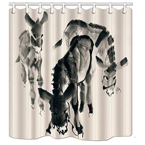 CICIDI Asiatischer Dekor-Duschvorhang, Esel, handgezeichnet mit Tintenbild, Polyester-Stoff, Badvorhang-Set mit Haken, 183 x 183 cm