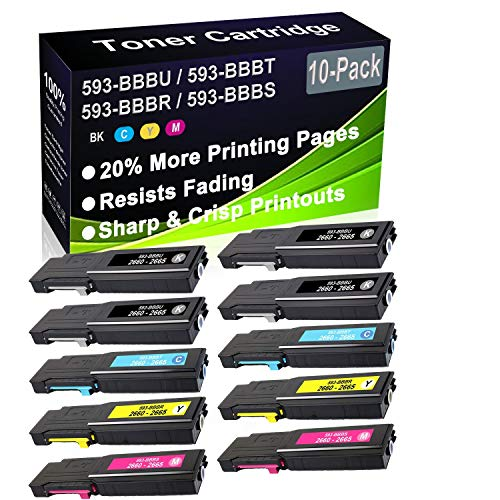 10-Pack (4BK+2C+2Y+2M) Compatible C2660, C2660dn, C2665dnf Laser Printer Toner Cartridge (High Capacity) Replacement for Dell 593-BBBU 593-BBBT 593-BBBR 593-BBBS Printer Toner Cartridge