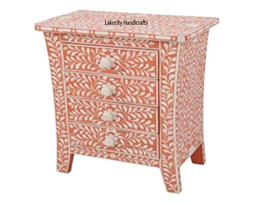 Bone Inlay Four Drawers Bedside Table in Orange Color