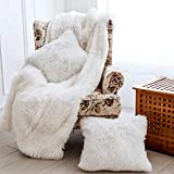 OurWarm 3pcs Super Soft Faux Fur Throw Blanket Pillow Cover Set for Couch Sofa Bed Chair Photo Props, Shaggy Sherpa Longfur Throw Blanket (50in x 60in) + 2 Throw Pillow Covers(18in x18in), Pure White