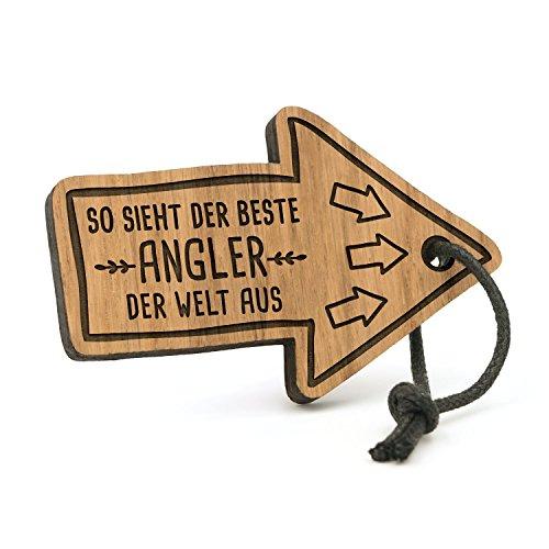 Fashionalarm Schlüsselanhänger So Sieht der Beste Angler der Welt aus | Pfeil aus Holz mit Gravur | Geschenk Idee Fischer Angeln Hobby Beruf Job