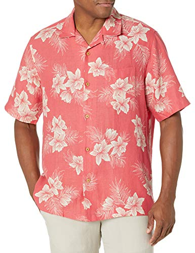 Amazon Brand - 28 Palms Men's Relaxed-Fit Silk/Linen Tropical Hawaiian Shirt, Washed Red Vintage...