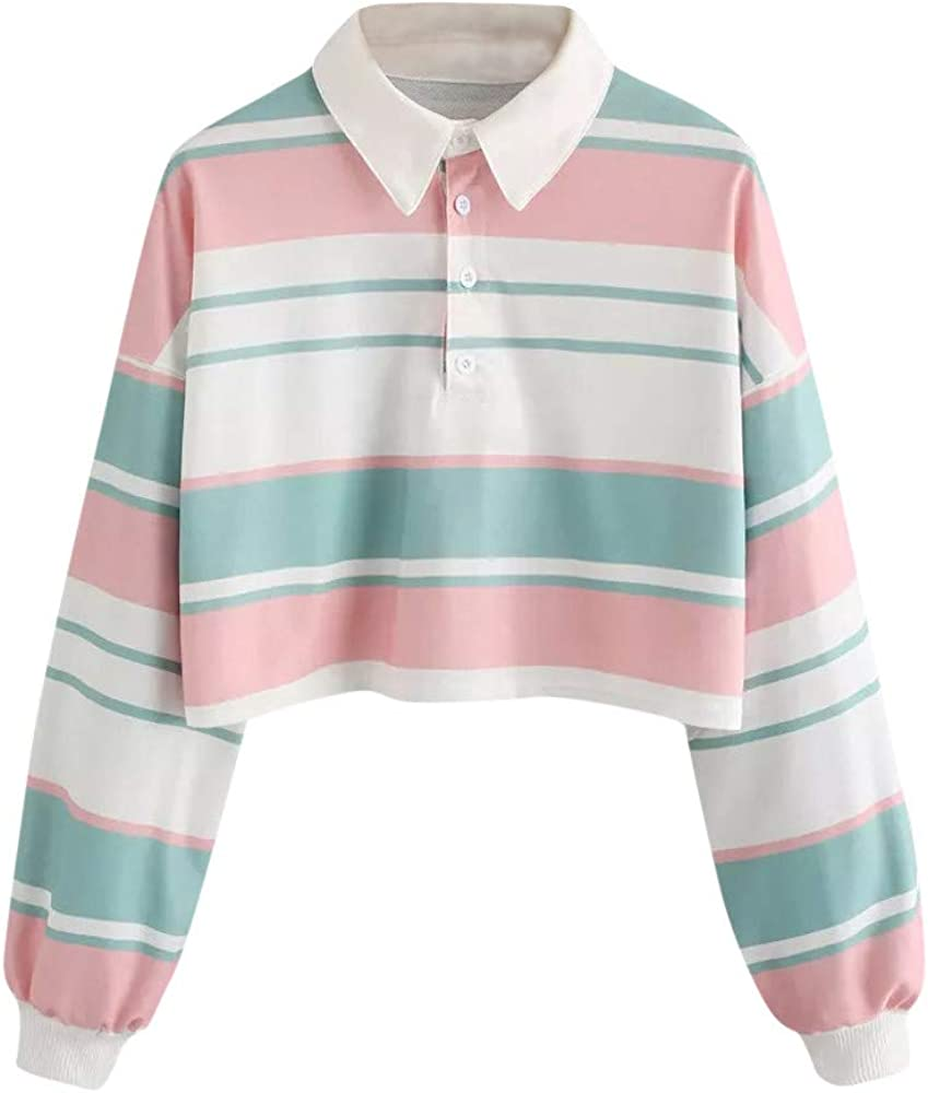 Women Long Sleeve Crop Tops Striped Polo Pullover Fashion Casual Loose Sweatshirts Comfy Soft Blouses