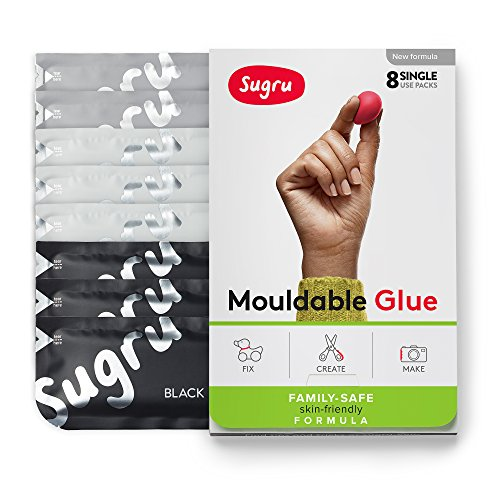 Sugru Moldable Glue - Family-Safe - All-Purpose Adhesive, Suitable for Children - Holds up to 4.4 lb - Black, White & Gray 8-Pack