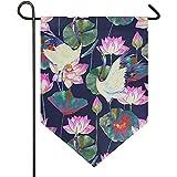 KL Decor Family Flag,Teich-Vogel Crane Flower Seamless Pattern Kreative Hausgarten-Fahnen Für Hausgarten-Dekoration