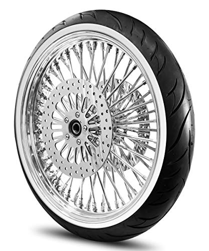 21X3.5 52 Fat Spoke Wheel for Harley Touring Bagger fits 2008-Above Models (w/ABS) w/Tire & Rotors (w/bolts) (All Chrome & White Wall Tire)