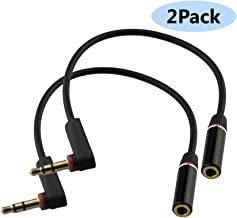 Seadream 2PACK 6 inch 3-Pole 3.5mm Male Right Angle to 3.5mm Female Stereo Audio Cable Headset Extension Cable for Beats Dr. Dre Studio iPhone,M to F Audio Cable