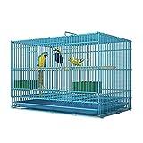 TEAYASON Jaula para Pájaros de Hierro Forjado con Soporte Rodante, una Gran Jaula Voladora Adecuada para la Mayoría de Los Pájaros, Color Azul (Tamaño: Grande),Grande