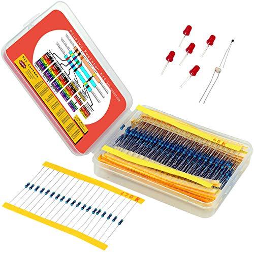 Resistor Widerstands kit: 600 verschiedene Widerstände von 10 Ohm bis 1 MOhm in einer Box, Metallfilmwiderstände, Gehäuse mit 30 Werten plus Thermistor, Fotowiderstand und 5 LEDs von Plusivo