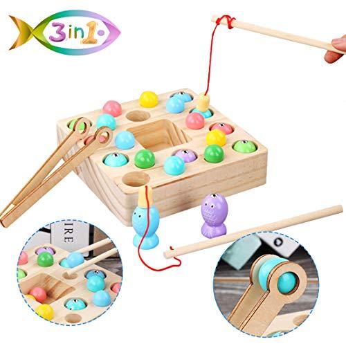 O-Kinee 3 en 1 Juguete de Pesca, Montessori Bebe Madera Peces Juguete Magnetico Educación Puzzle Preescolares Juegos Pescado Pascua Viaje Regalos Cumpleaños para Niños 3 4