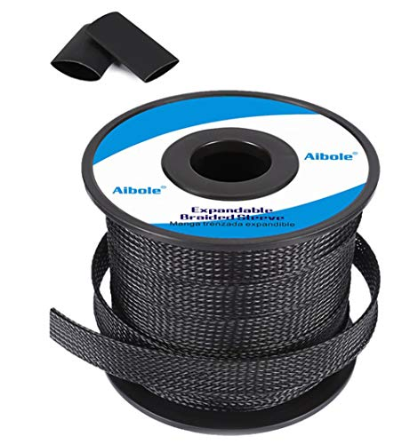 Aibole 100Ft-1/4 Black Cable Management Cord Protector Braided Wire Loom Braided Cable Sleeve for Television, Audio, Computer Cables, Prevent Pet from Chewing Cords