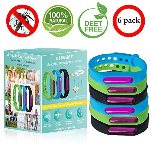 CIDBEST Bracelet Anti Moustique Anti Moustiques Bande Lot de 6 Bandes Anti Insectes Imperméables sans DEET Bracelet Réglable 100% Naturel pour Adultes et Enfants Protection extérieure intérieure