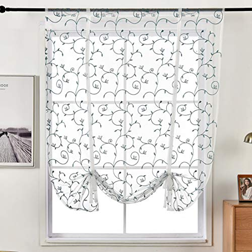 """vctops Floral Embroidered Sheer Tie Up Window Curtain Shades Rod Pocket Adjustable Balloon Roman Curtains for Small Windows (39"""" x 47"""", Blue)"""